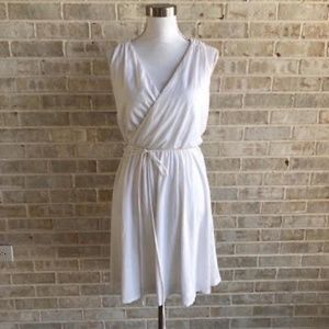 Ann Taylor Loft Dress SZ L Crossover Belted A Line